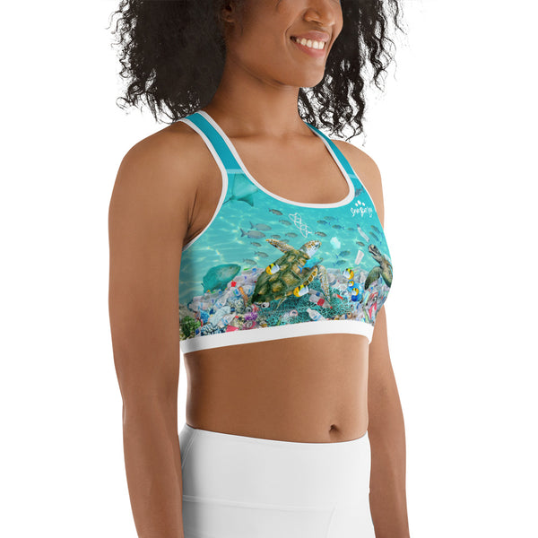 Save the Sea Turtles sports bra helps bring awareness about plastic pollution in the ocean, designed by Sushila Oliphant at Save Bait Life..