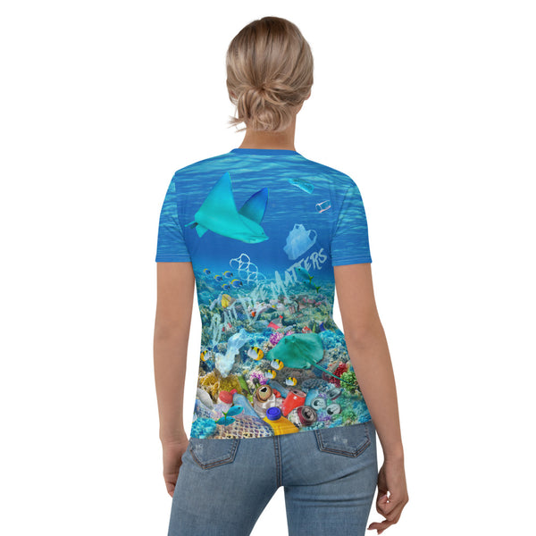 Stingrays chasing plastic in ocean women's t-shirt brings awareness to ocean pollution by Sushila Oliphant, Save Bait Life.