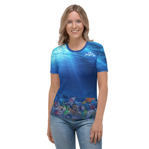 Dolphins in Peril women's t-shirt brings awareness to ocean pollution by Sushila Oliphant, Save Bait Life.