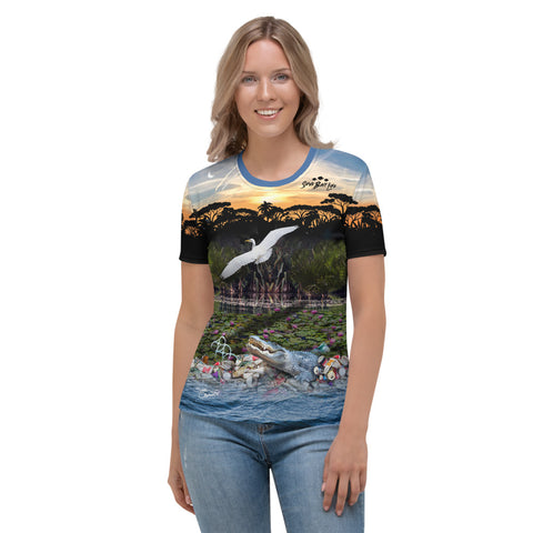 Everglades gator and wildlife women's t-shirt brings awareness to pollution in all of  our waters by Sushila Oliphant, Save Bait Life.