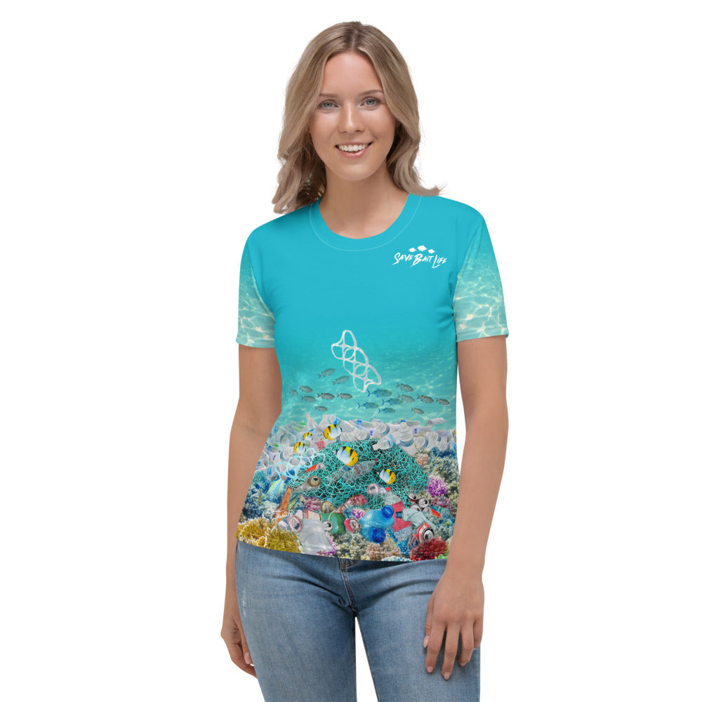 Sea Turtles chasing plastic in ocean women's t-shirt brings awareness to ocean pollution by Sushila Oliphant, Save Bait Life.
