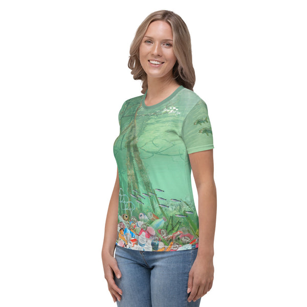 Snook fish chasing plastic in mangroves women's t-shirt brings awareness to ocean pollution by Sushila Oliphant, Save Bait Life.