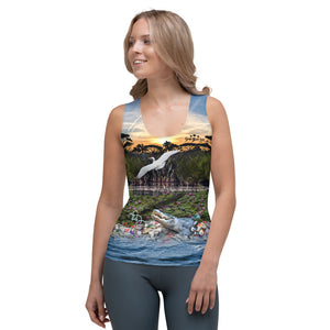 Everglades gator and wildlife women's tank top brings awareness to pollution in all of  our waters by Sushila Oliphant, Save Bait Life.