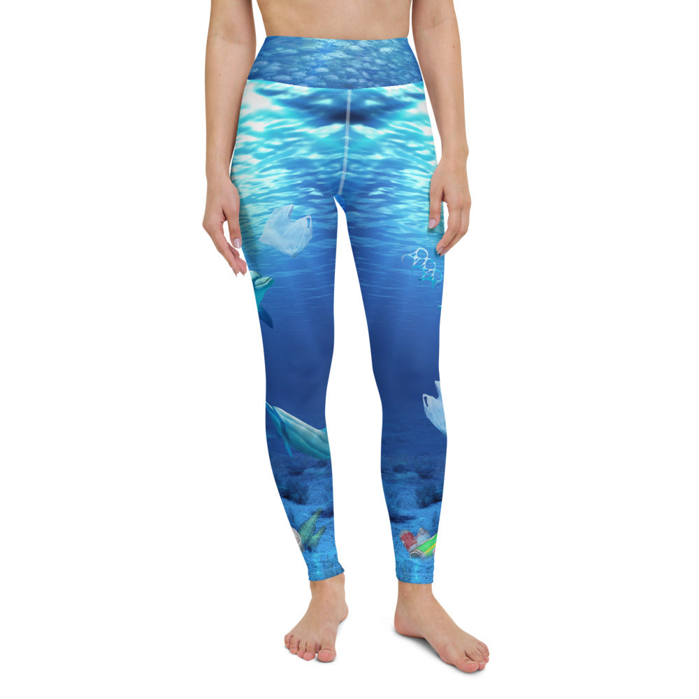 Dolphins in Peril yoga pants brings awareness to ocean pollution by Sushila Oliphant, Save Bait Life.