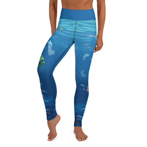 These yoga pants of mahi mahi going after  plastic thinking it's food. Designed by Sushila Oliphant, Save Bait Life, LLC.