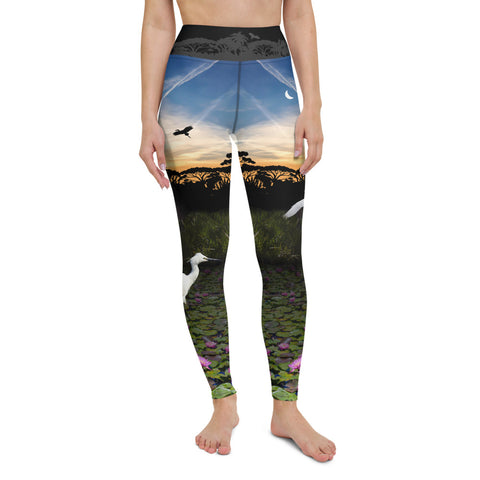 Everglades yoga pants depict a balanced ecosystem through environmental consciousness by Sushila Oliphant, Save Bait Life.