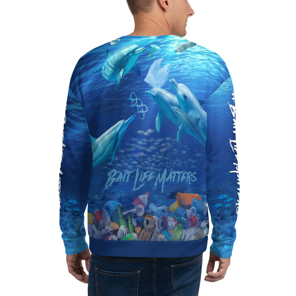Save the Dolphins, unisex sweatshirt helps bring awareness about plastic pollution in the ocean, designed by Sushila Oliphant at Save Bait Life..