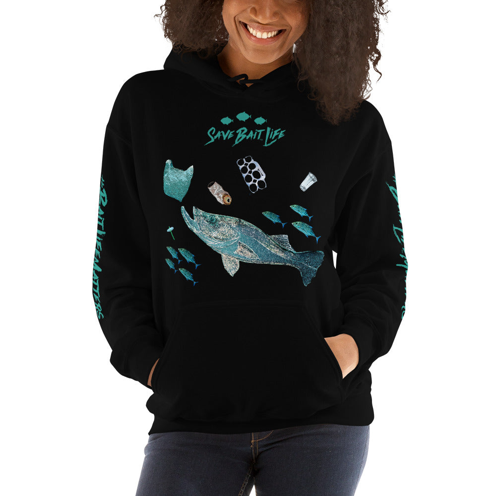 Fish Chasing Plastic illustrated in this hoodie by Sushila Oliphant for Save Bait Life.