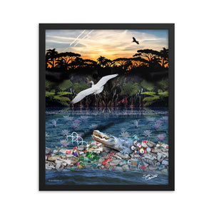 framed Poster of a polluted swamp and the sky is full of chem trails in the Everglades endangering the ecology and wildlife. Artwork by Sushila Oliphant of Save Bait Life, LLC.