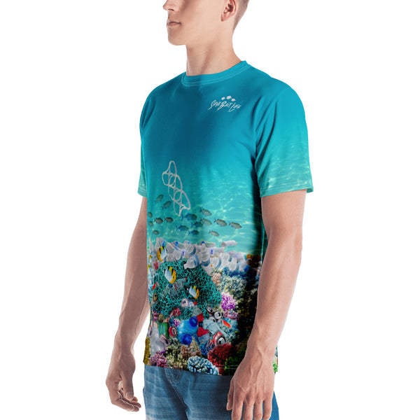 Save Sea Turtles men's t-shirt helps bring awareness about plastic pollution in the ocean, designed by Sushila Oliphant at Save Bait Life..