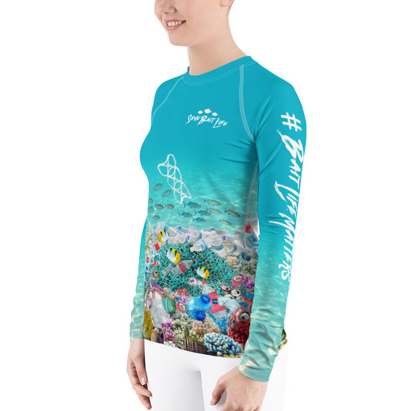 Save the Sea Turtles, women's surfer shirt helps bring awareness about plastic pollution in the ocean, designed by Sushila Oliphant at Save Bait Life..