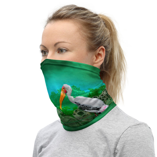 Woman wearing buff of pollution in Everglades by Sushila Oliphant of Save Bait Life, LLC.