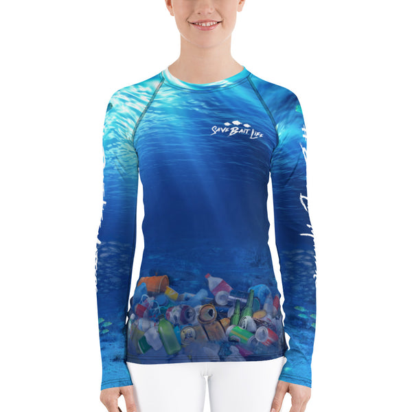 Save the Dolphins, women's surfer shirt helps bring awareness about plastic pollution in the ocean, designed by Sushila Oliphant at Save Bait Life..