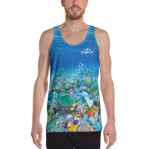 Save the Stingrays, men's tank tops helps bring awareness about plastic pollution in the ocean, designed by Sushila Oliphant at Save Bait Life..
