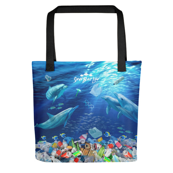 Save the Dolphins tote bag created to bring awareness about plastic pollution in the ocean, designed by Sushila Oliphant at Save Bait Life..