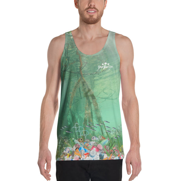 Save the Snook, men's tank tops helps bring awareness about plastic pollution in the ocean, designed by Sushila Oliphant at Save Bait Life..