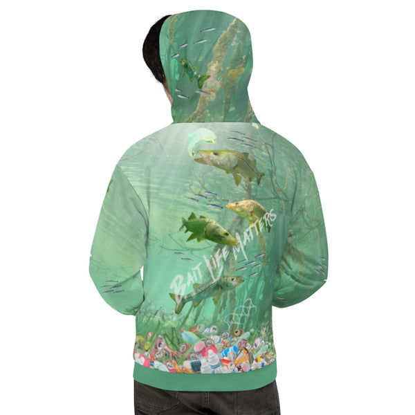 Snook Chasing Plastic hoodies helping to bring awareness about ocean pollution, designed by Sushila Oliphant at Save Bait Life..