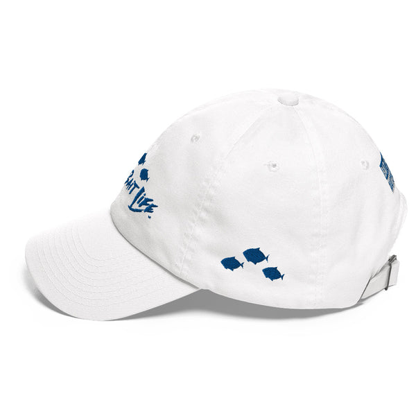 Save Bait Life - Embroidered Navy on White Dad Hat