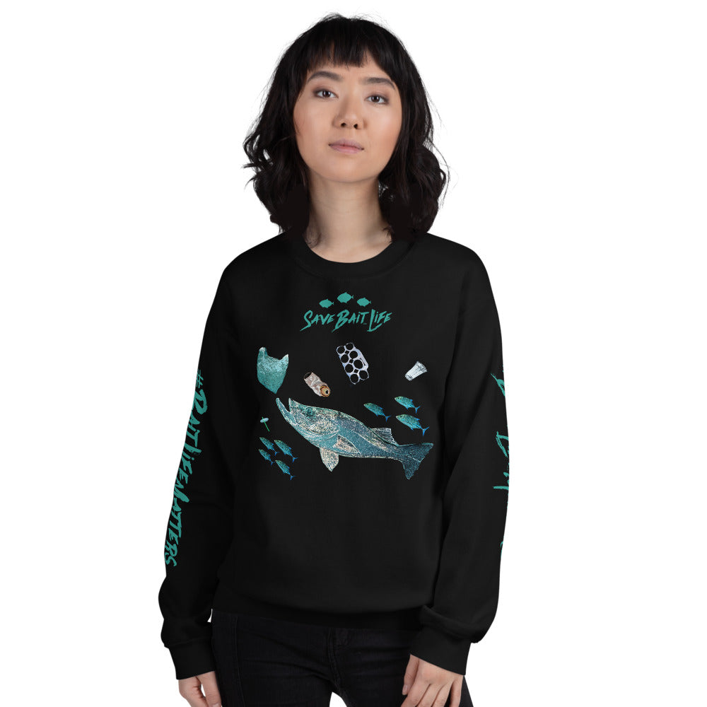 Fish Chasing Plastic illustrated in this unisex sweatshirt by Sushila Oliphant for Save Bait Life.