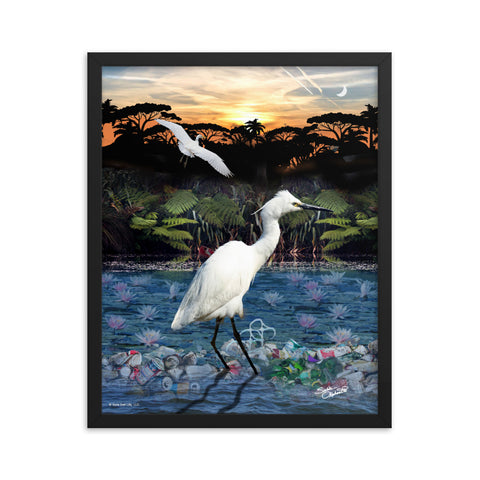 Framed Poster of a polluted swamp in the Everglades endangering the ecology and wildlife. Artwork by Sushila Oliphant of Save Bait Life, LLC.