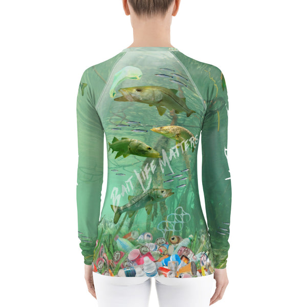 Save the Snook fish, women's surfer shirt helps bring awareness about plastic pollution in the ocean, designed by Sushila Oliphant at Save Bait Life..