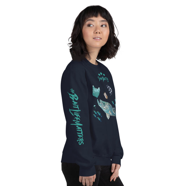 Bait Fish Chasing Plastic - Black and Navy Unisex Sweatshirts