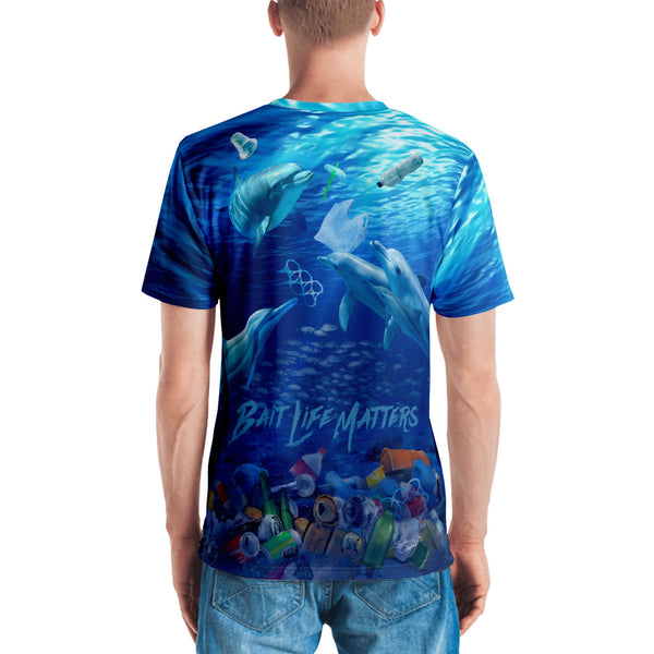 Save the Dolphins men's t-shirt helping to bring awareness about plastic pollution in the ocean, designed by Sushila Oliphant at Save Bait Life..