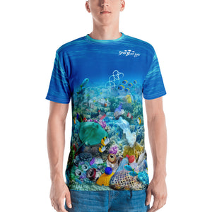Save the Snook fish, men's t-shirt helps bring awareness about plastic pollution in the ocean, designed by Sushila Oliphant at Save Bait Life..