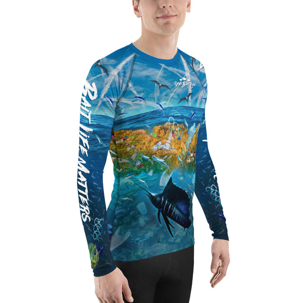 Cool rashguard depicting mahi mahi and salifish being surrounded by ocean pollution and chemtrails, too. Designed by Sushila Oliphant, Save Bait Life, LLC.