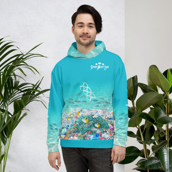 Save the Sea Turtles - hoodies that bring awareness about pollution in the ocean, designed by Sushila Oliphant at Save Bait Life..