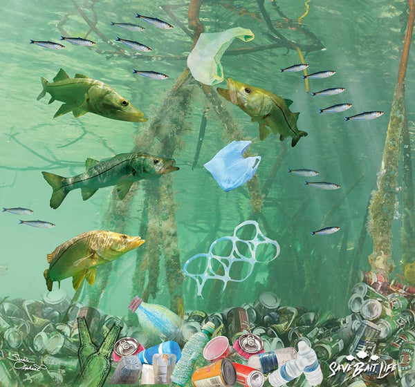 Original artwork of a buff face mask of pollution in the mangroves with snook fish by Sushila Oliphant of Save Bait Life, LLC.