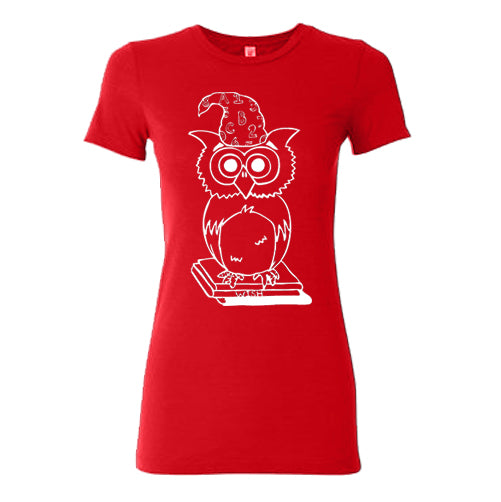 Wizard Owl Fitted T-Shirt (Red)