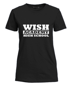 WISH Academy High School Fitted T-Shirt LARGE FONT (***Black ONLY Approved for P.E. ***)