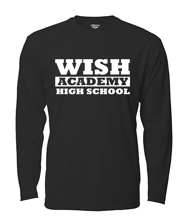 WISH Academy High School Long Sleeved LARGE FONT (***Black ONLY Approved for P.E. ***)