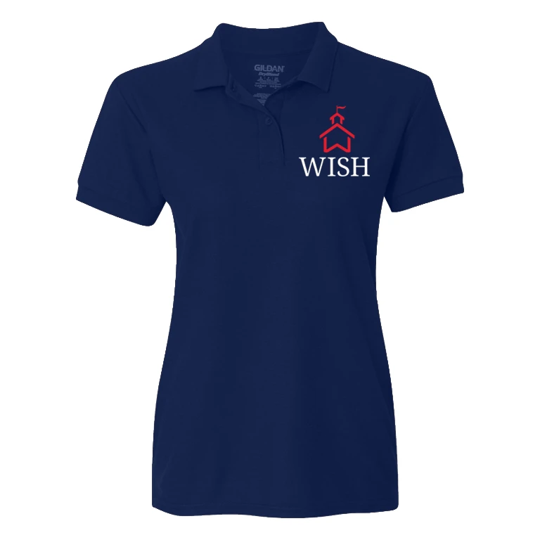 WISH Red School House Logo Fitted Blue Polo