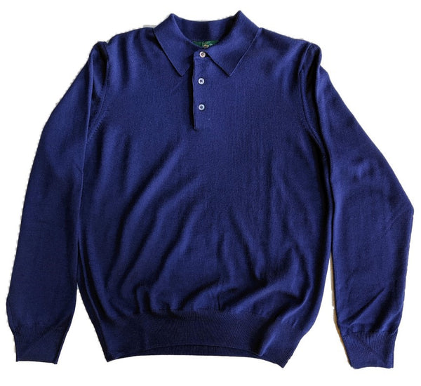 Alan Paine Hindhead Merino Polo - French Navy
