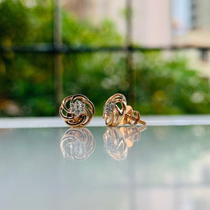 18Kt rose gold diamond earring real photo