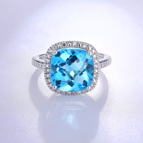 14Kt White Gold Designer Diamond Blue Topaz Ring