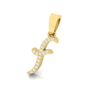 yellow gold alphabet initial letter 'f' diamond pendant - 2