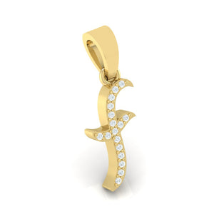 yellow gold alphabet initial letter 'f' diamond pendant - 1