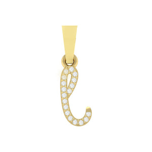 yellow gold alphabet initial letter 'l' diamond pendant - 1