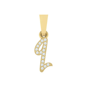 yellow gold alphabet initial letter 'q' diamond pendant - 1