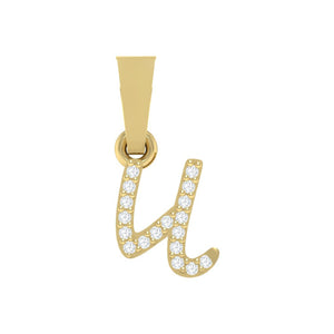 yellow gold alphabet initial letter 'u' diamond pendant - 1