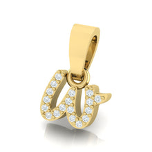 Load image into Gallery viewer, yellow gold alphabet initial letter 'w' diamond pendant - 2