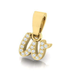 yellow gold alphabet initial letter 'w' diamond pendant - 2