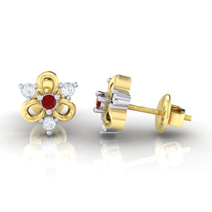 18Kt gold real diamond earring 45(3) by diamtrendz