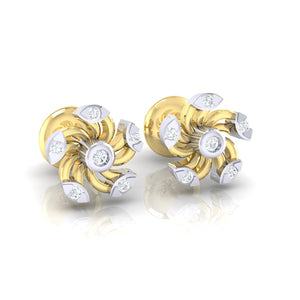 18Kt gold real diamond stud earring 52(1) by diamtrendz