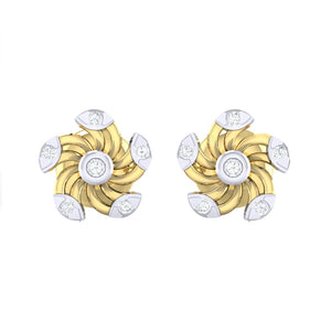 18Kt gold real diamond stud earring 52(2) by diamtrendz