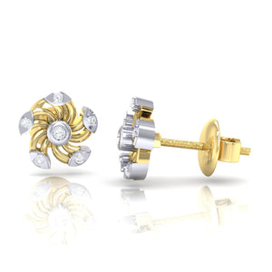 18Kt gold real diamond stud earring 52(3) by diamtrendz