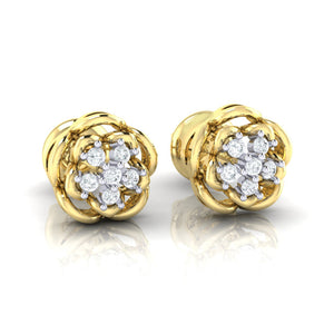 18Kt gold real diamond stud earring 53(1) by diamtrendz